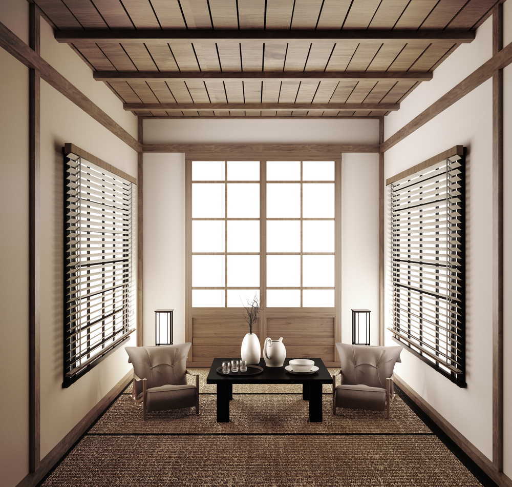 Tea room whole floor covered with tatami mat beautiful aesthetical Japanese oriental tradition