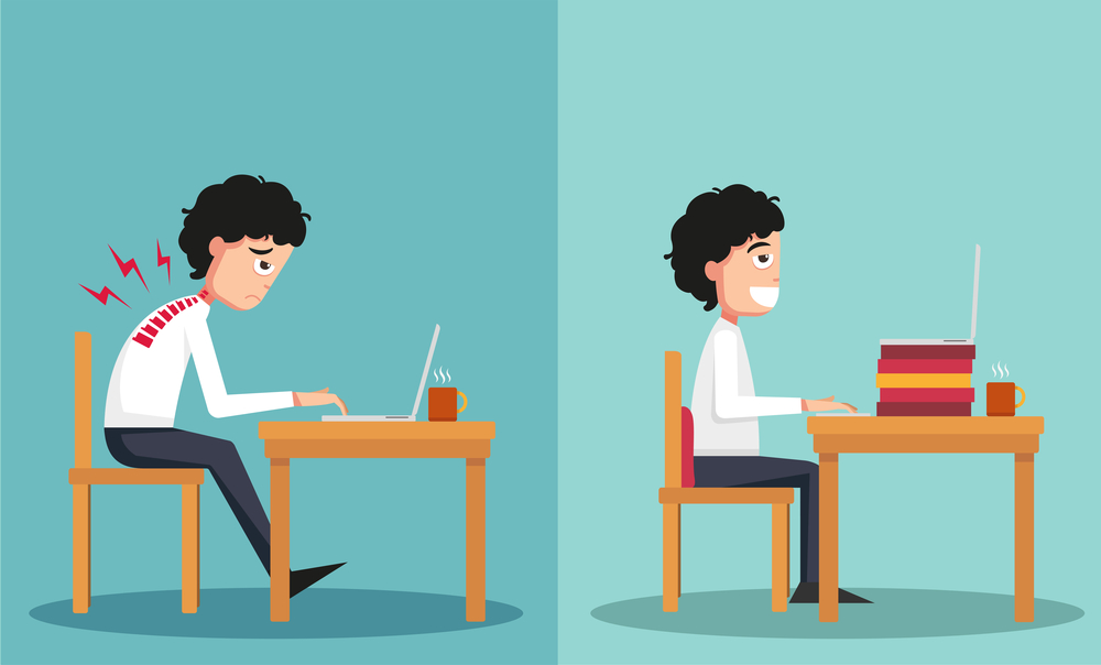 Sitting hunched over can cause back and neck pain. Wrong way versus right way.
